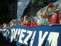 Comienza la marcha de 24 horas en la plaza de mayo